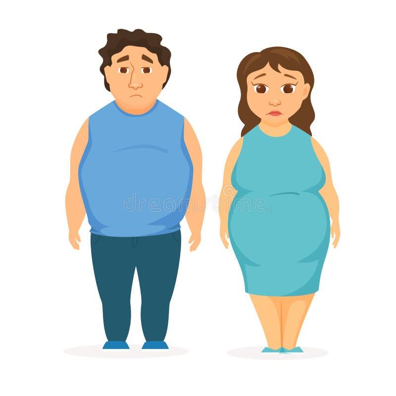 Obesidade do homem e das mulheres ilustração do vetor