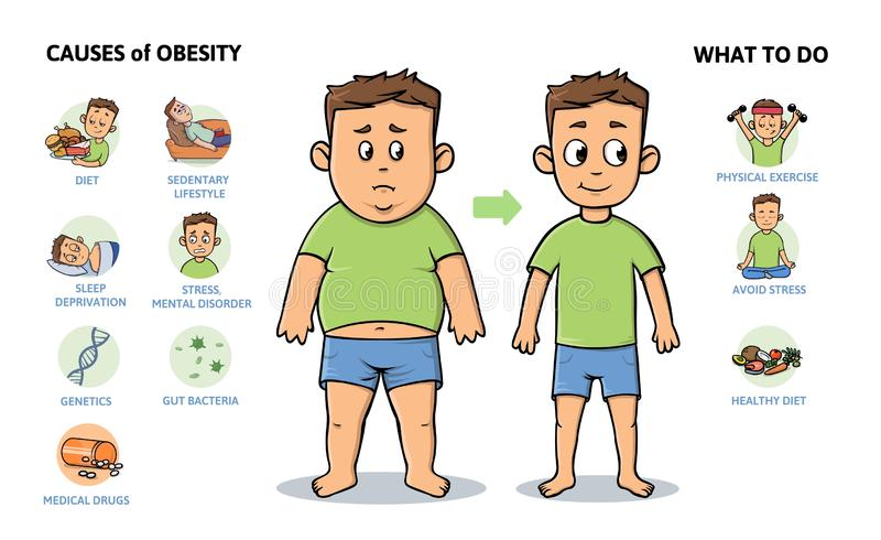 Obesity causes and prevention. Young guy before and after diet and fitness. Colorful infographic poster with text and royalty free illustration