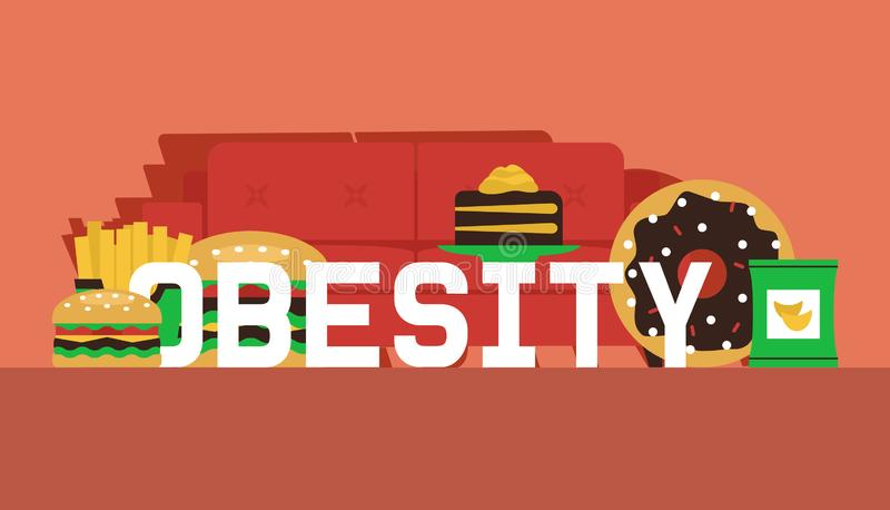 Obesity concept banner vector illustration. Make your choice between healthy and junk food. Defeat obesity today. Sofa. With fast food such as burger, chips vector illustration