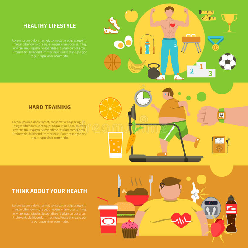 Obesity Horizontal Banners vector illustration