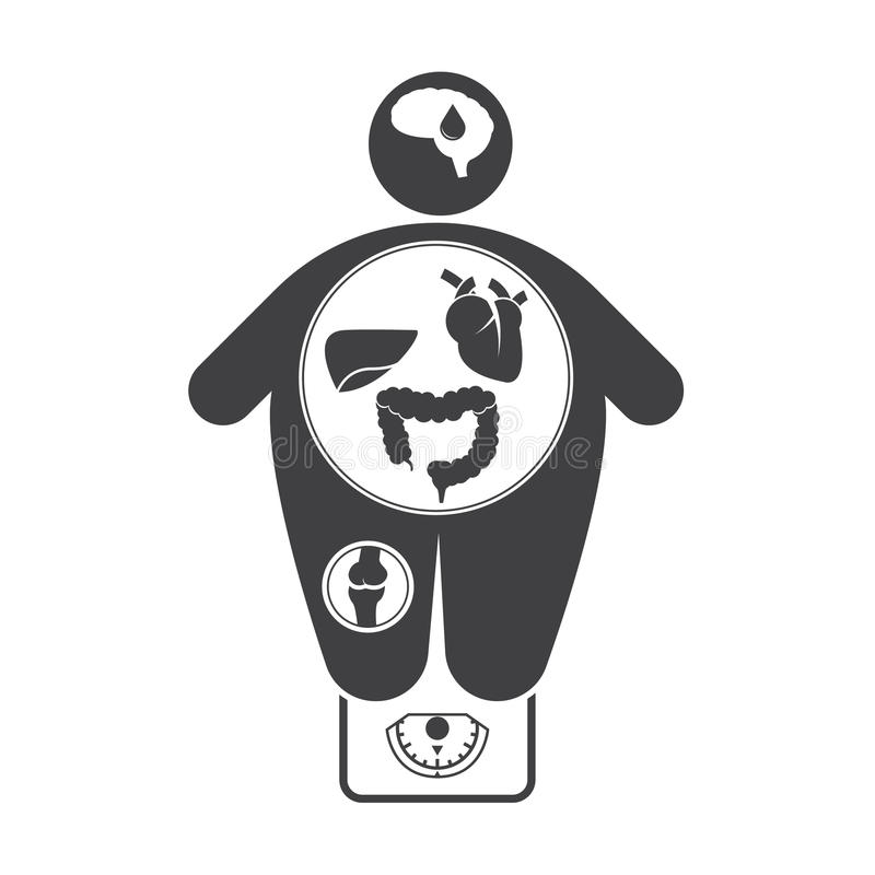 obesity related diseases icons stock vector illustration