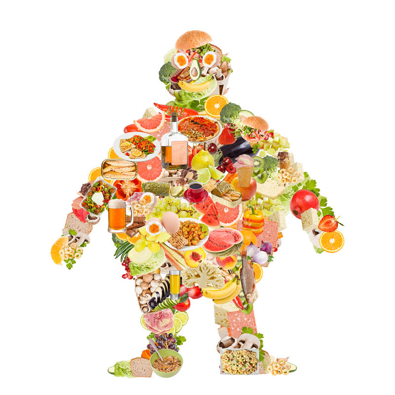 Obesity symbol. Made of food stock photography
