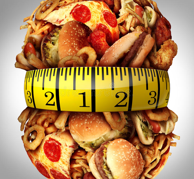 Obesity Waistline Diet. Concept as a group of unhealthy fast food as hamburgers,fries and hot dogs bulging out as a fat stomach with a tape measure wrapped stock illustration