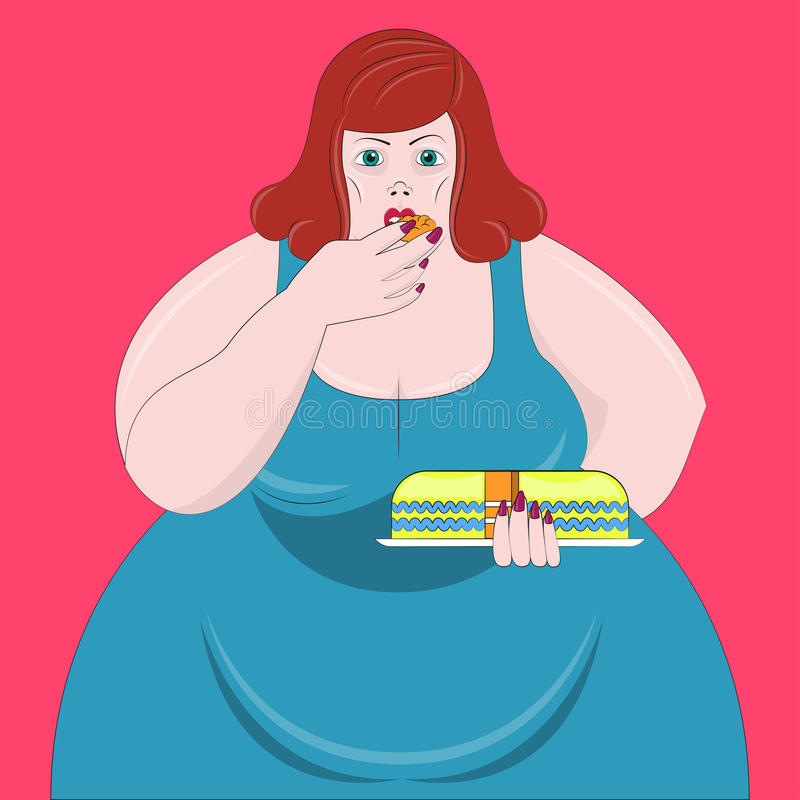 Obesity woman Vector illustration stock illustration