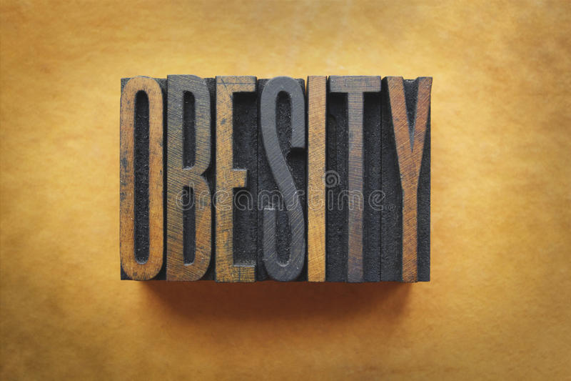 Obesity. The word OBESITY written in vintage letterpress type stock images