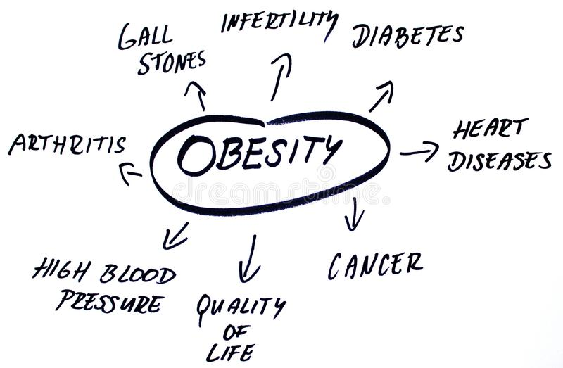 Obesity words cloud. Diagram of handwritten words about obesity problem vector illustration