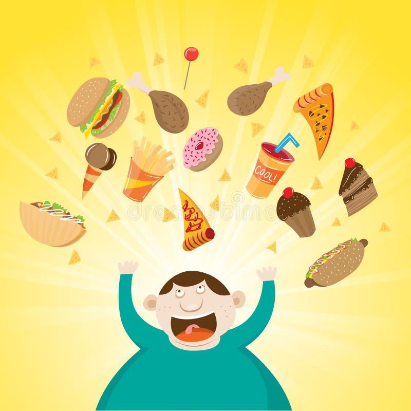 Obeso feliz stock de ilustración