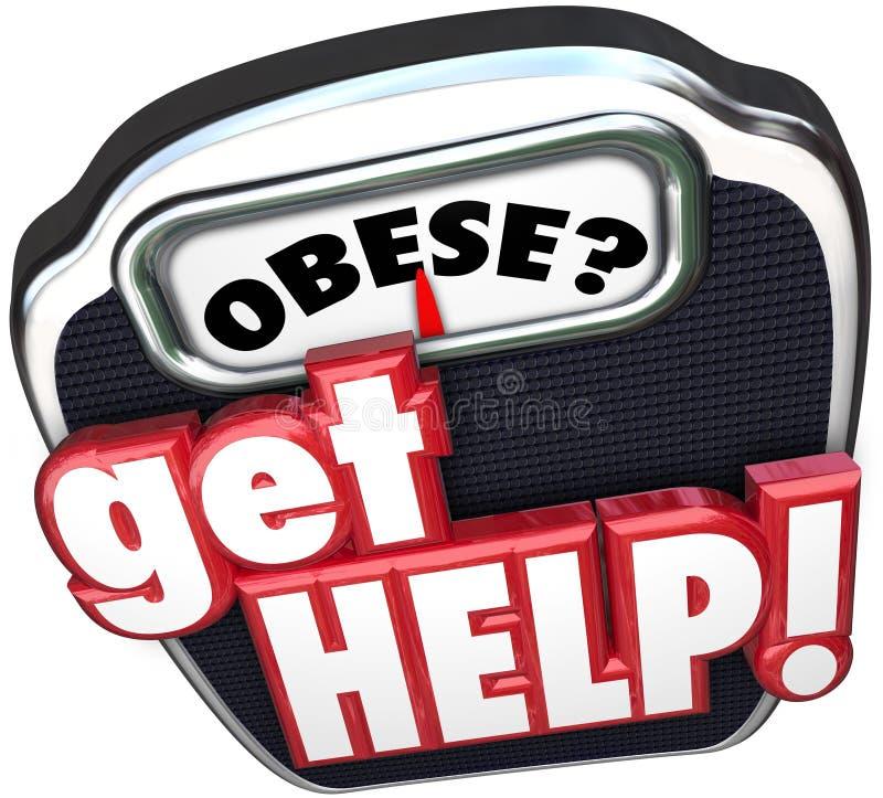 Obeso ottenga la scala di aiuto perdono il peso illustrazione vettoriale
