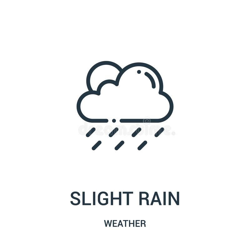 obetydlig regnsymbolsvektor fr?n v?dersamling Tunn linje obetydlig illustration f?r vektor f?r regn?versiktssymbol royaltyfri illustrationer