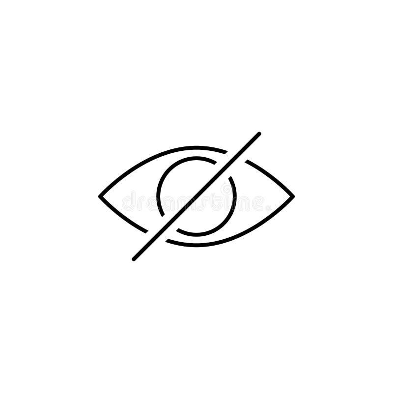 Obezwładnia oko kryjówki konturu ikonę Znaki i symbole mogą używać dla sieci, logo, mobilny app, UI, UX royalty ilustracja