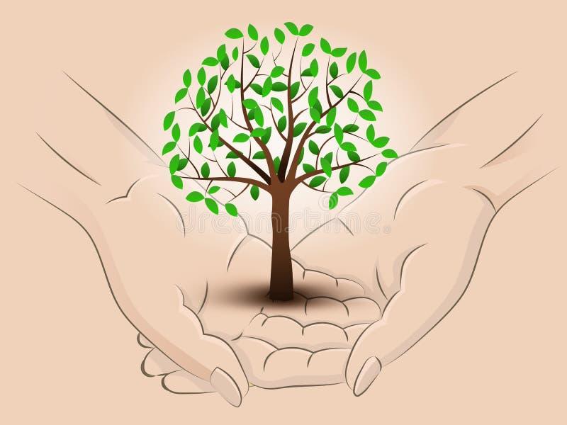Obfitolistni drzewni dwa chwyta ludzkie ręki przez wektor ilustracji