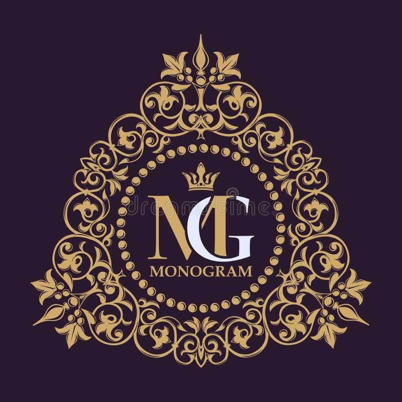obfitolistny ornament Warzywo rama Złotego rocznika dekoracyjna granica Luksusowy logo szablon rozkwita kaligraficzne ornament li royalty ilustracja