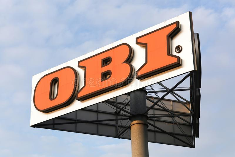 OBI sign on a pole. Frechen, Germany - July 1, 2017: OBI sign on a pole. Founded in 1970, OBI is the largest do it yourself retailer in Europe and the third royalty free stock photography