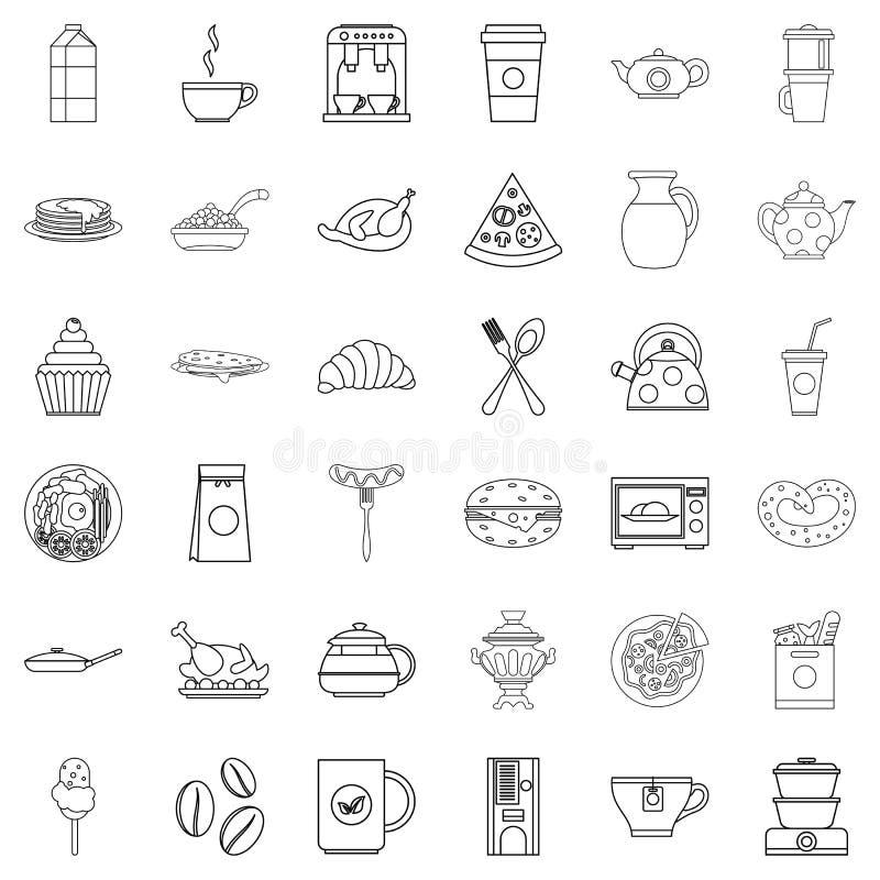 Obiadowe karmowe ikony ustawiać, konturu styl ilustracja wektor