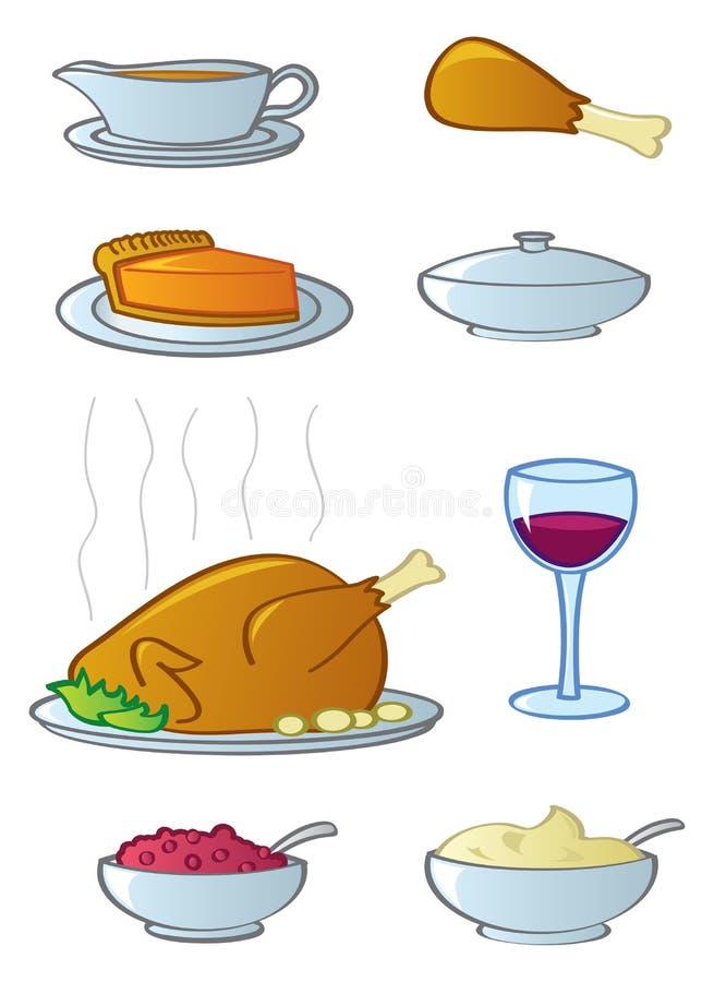 obiadowe karmowe wakacyjne rzeczy ilustracja wektor