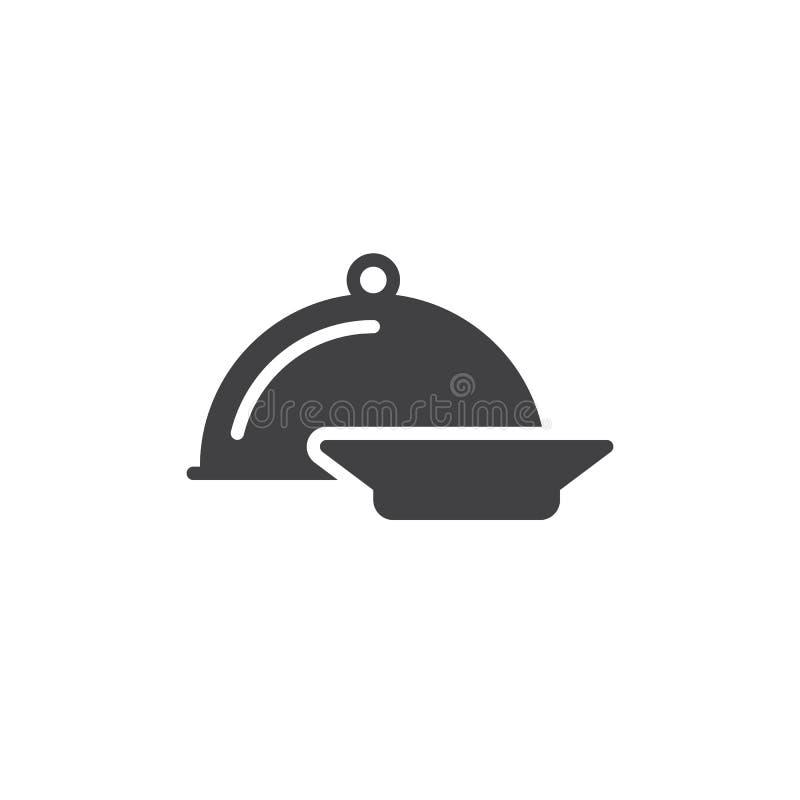 Obiadowy ikona wektor, wypełniający mieszkanie znak, stały piktogram odizolowywający na bielu ilustracji