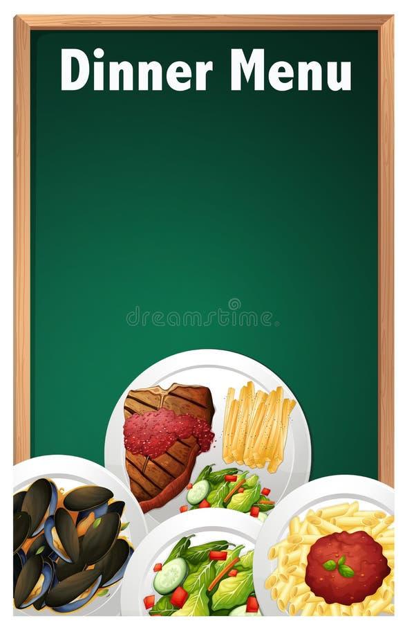 Obiadowy menu na Kredowej deski szablonie ilustracji