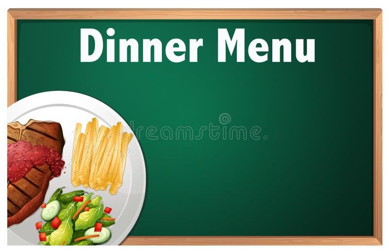 Obiadowy menu na Kredowej deski szablonie royalty ilustracja