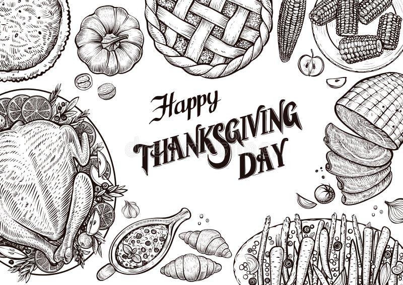 Obiadowy stół, odgórny widok Szablon z wektorowymi ilustracjami jedzenie dla tradyci dziękczynienia dnia menu ilustracji