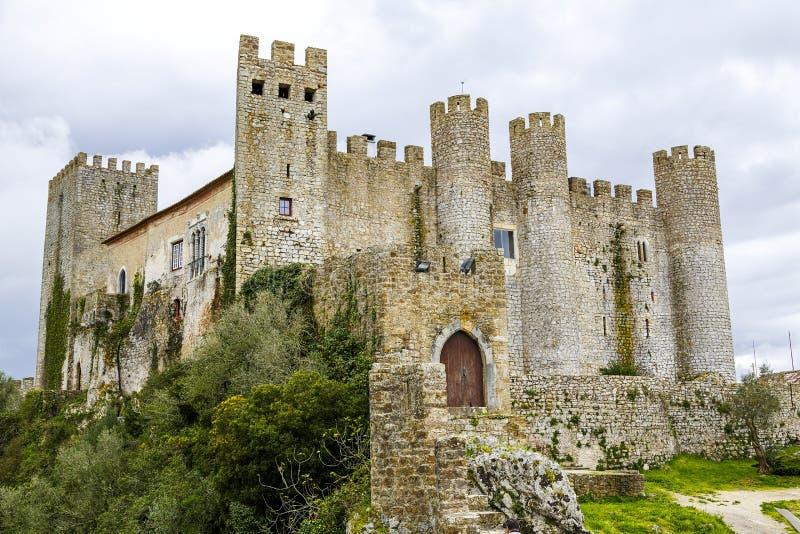 防御堡垒_Obidos葡萄牙中世纪城堡 库存照片. 图片 包括有 假期, 固定 ...