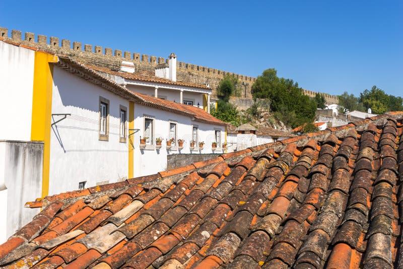 Obidos średniowieczny kasztel, Portugalia zdjęcia stock
