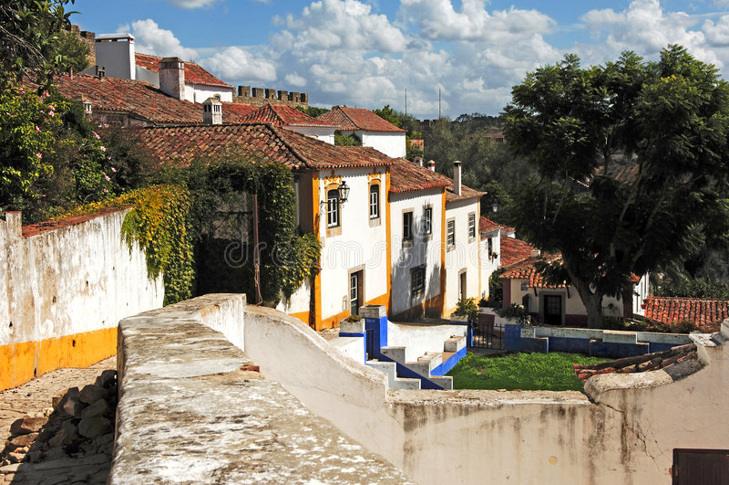 obidos Португалия города средневековые стоковые фотографии rf
