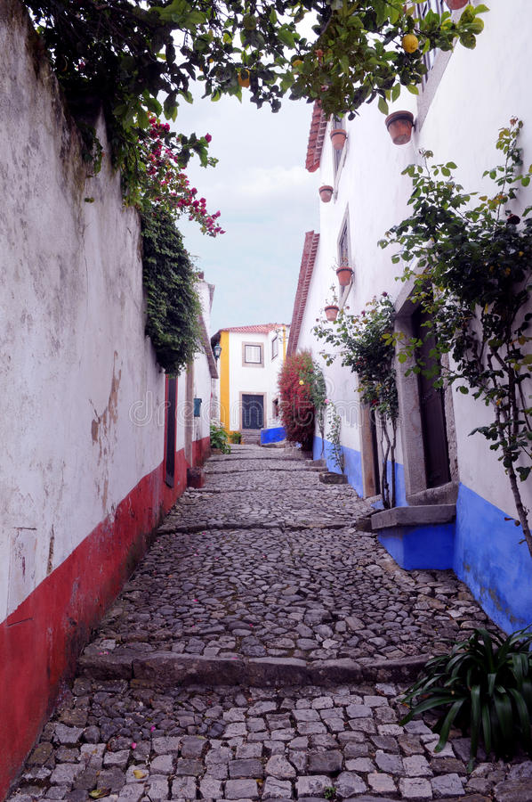 Download Obidos Alley - Slope And Narrow Street Stock Image - Image of incline, ground: 24384031