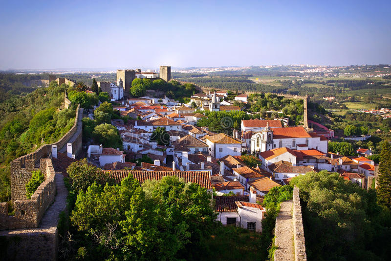 Obidos Dorf stockfotos