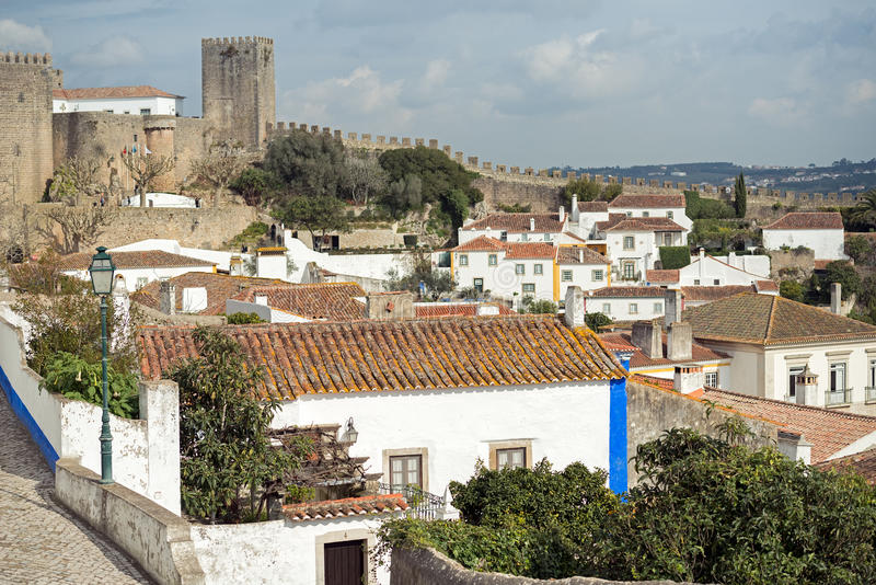 Obidos houses. The fortified city of Obidos seen from the top of the wall, Portugal royalty free stock photography