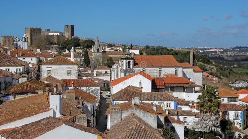 Obidos-populär turist- destination, Portugal royaltyfri foto