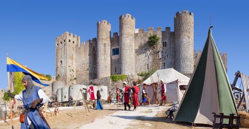 Obidos, Portugal Château d'Obidos pendant la reconstitution juste médiévale photos stock