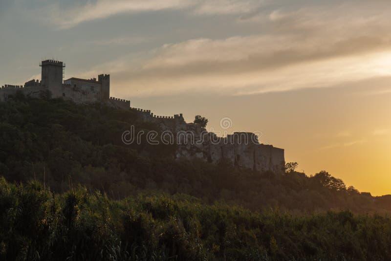 Obidos solnedgång, Portugal royaltyfri fotografi