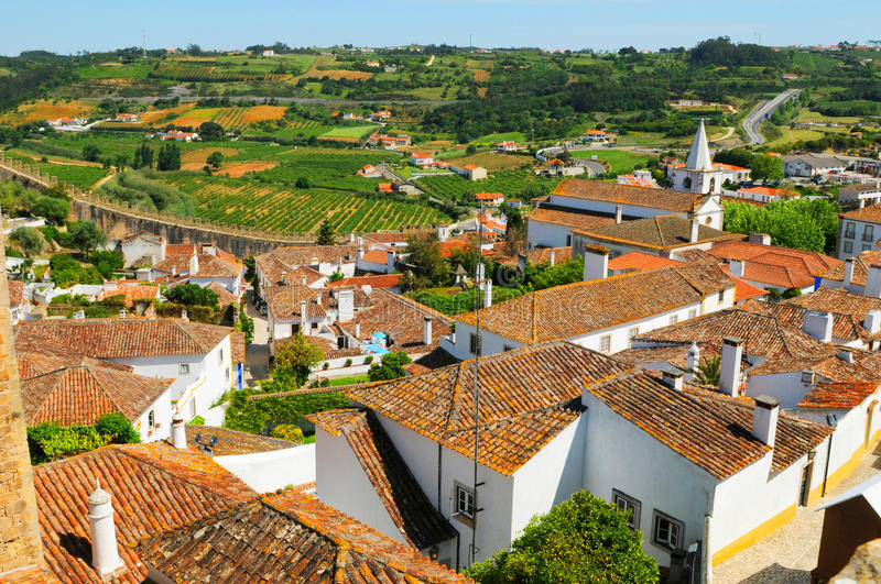 Obidos Town. A birdseye view of houses in the Obidos town in Portugal stock images