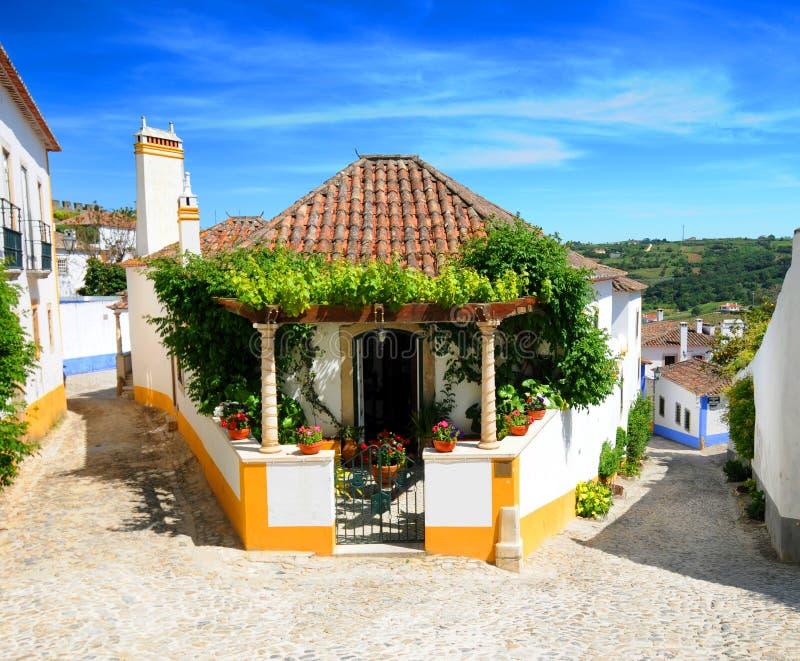 Obidos village Portugal. Close up of traditional home in Obidos village, Leiria, Portugal