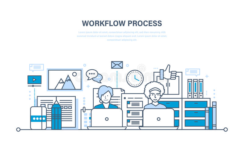 Obieg, miejsce pracy, środowisko, oprogramowanie i narzędzia, myśli proces komunikacja ilustracja wektor