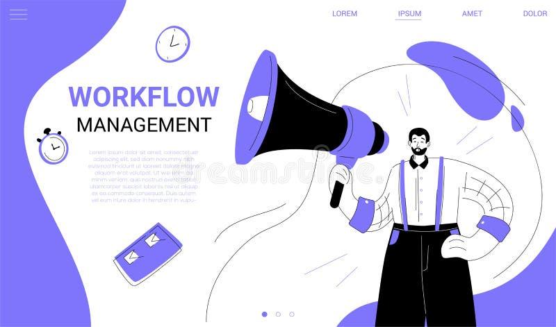 Obieg zarządzanie - płaski projekta stylu sieci sztandar ilustracji