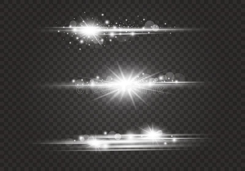 Obiektywów racy i oświetleniowi skutki na przejrzystym tle ilustracja wektor