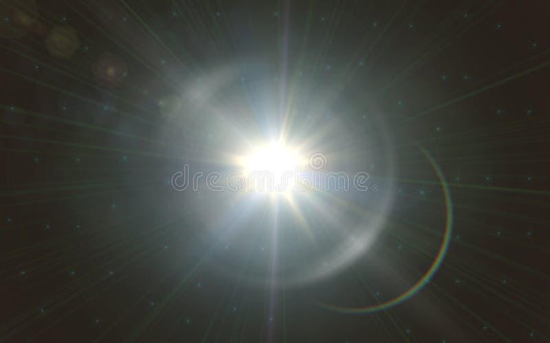 Obiektywu racy światło nad Czarnym tłem Łatwy dodawać narzutę lub parawanowego filtr nad fotografią sunburst z obiektywu racy świ fotografia royalty free