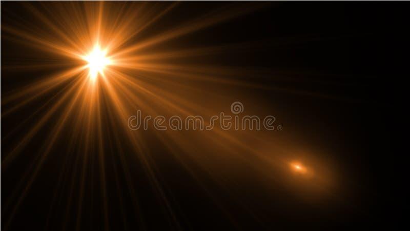 Obiektywu racy światło nad Czarnym tłem Łatwy dodawać narzutę lub s fotografia stock