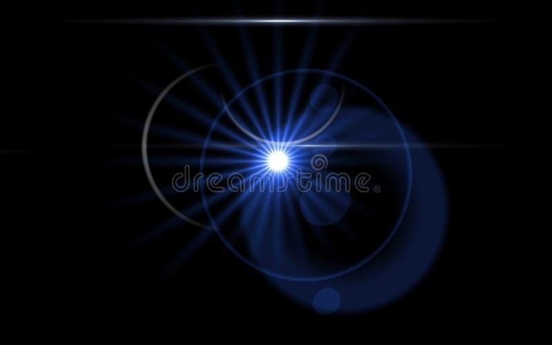 Obiektywu racy światło nad Czarnym tłem royalty ilustracja