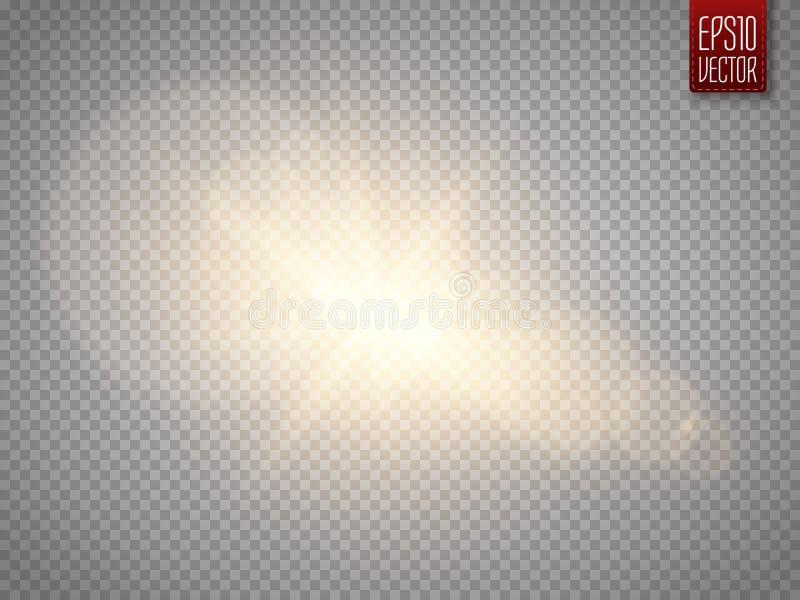Obiektywu racy skutek na przejrzystym tle Jarzeniowa latarki ilustracja ilustracja wektor