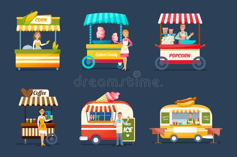 Obietta il commercio di strada Venditori dietro i contatori con le bevande, alimento, dolci illustrazione vettoriale