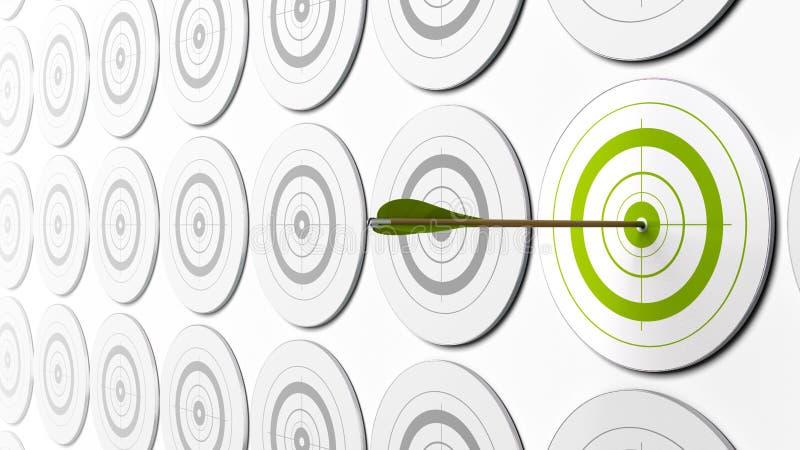 Obiettivi e freccia verdi illustrazione vettoriale