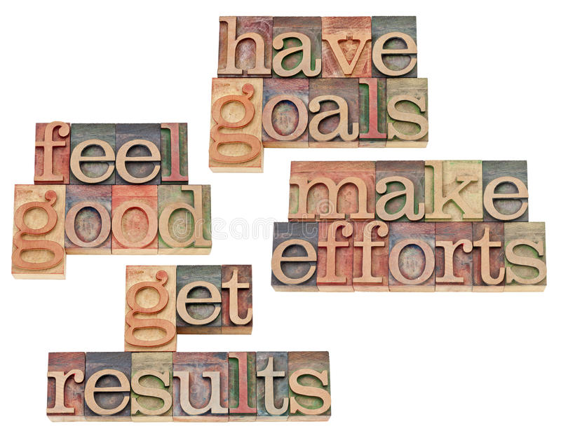 Obiettivi, sforzi, risultati, ritenenti buoni fotografia stock libera da diritti