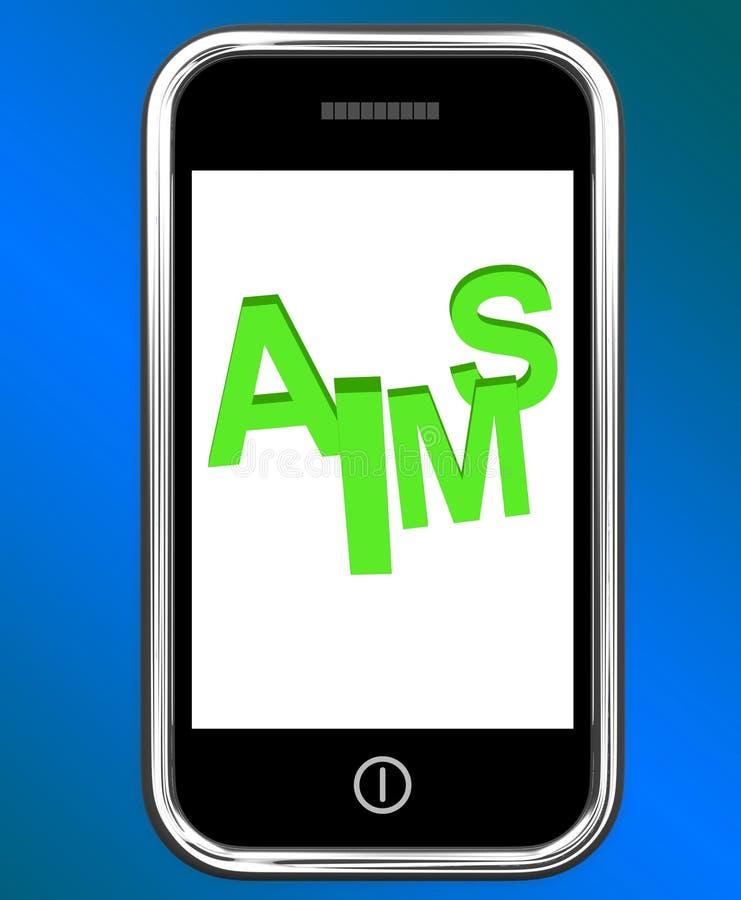 Obiettivi sulle manifestazioni di Smartphone che mirano allo scopo ed all'aspirazione illustrazione vettoriale
