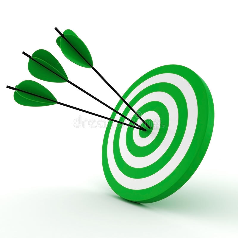 obiettivo 3d e frecce - isolati su bianco illustrazione di stock