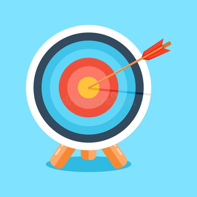 Obiettivo con la freccia, icona di affari Illustrazione di vettore illustrazione di stock