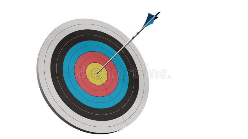 Obiettivo con una freccia - obiettivo con i arros di un arco in mezzo all'obiettivo isolato immagine stock libera da diritti