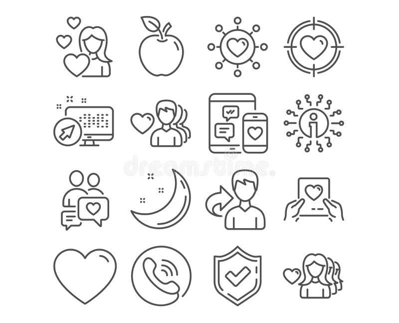 Obiettivo del biglietto di S. Valentino, di amore e datare le icone della rete Datazione chiacchierata, la posta di amore e dei s illustrazione di stock