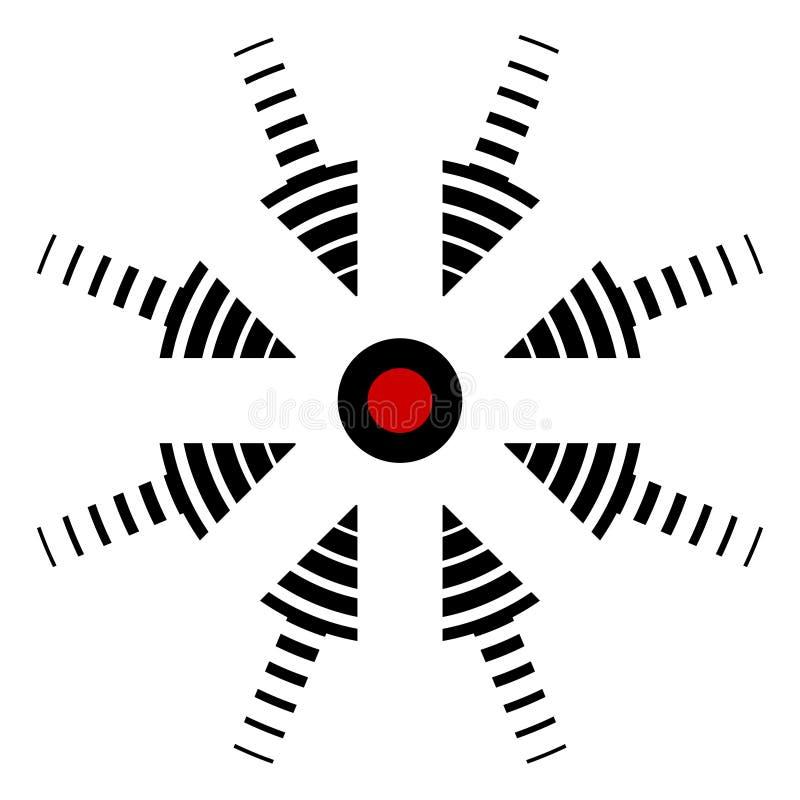 Obiettivo dell'icona, centro degli eventi, posizione specifica, freccia di vettore nell'incidente concentrare, il centro di dolor royalty illustrazione gratis